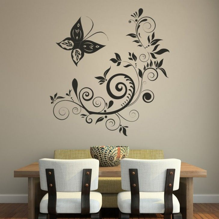 Beautiful Wall Stickers Easy Wall Art Ideas For Interior Dining Room  Decorating With Unique Curved Shaped
