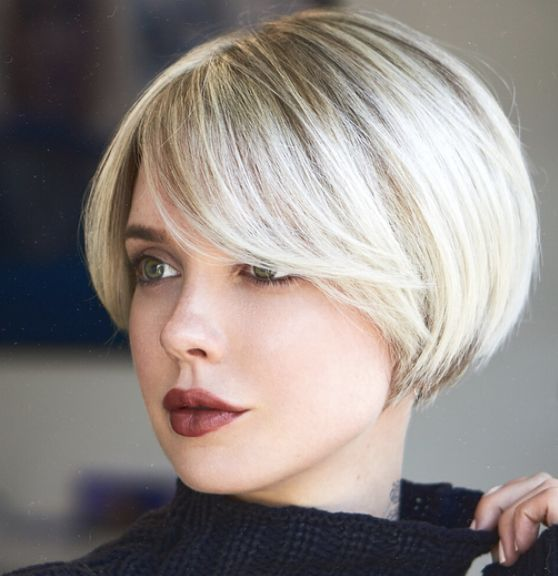 Short bob with side bangs | Short bob hairstyles, Bob ...