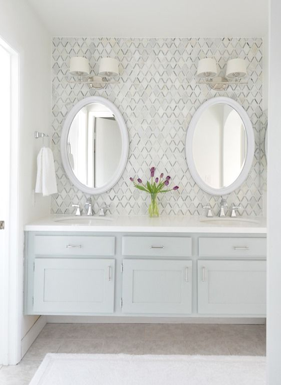 i like the idea of having a backsplash behind the master bath vanities fantastic builder basic master vanity makeover with diamond backsplash tile