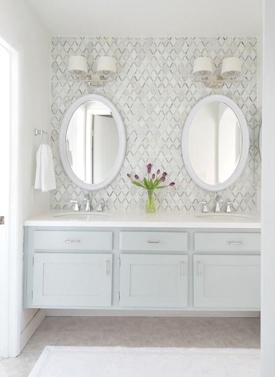 Fantastic builder basic master vanity makeover with diamond backsplash tile