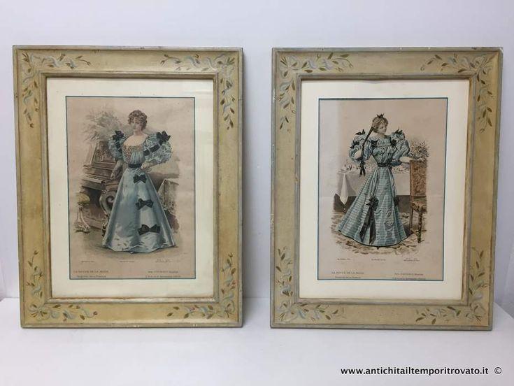 Oggettistica d`epoca - Stampe e dipinti Antica coppia di incisioni con cornici laccate - Antica coppia di incisioni di moda Immagine n°1