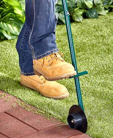 The Rotary Lawn Edger is just what you need to neatly trim the grass along your home's walkways. It creates clean-cut lines, especially when you place your foot
