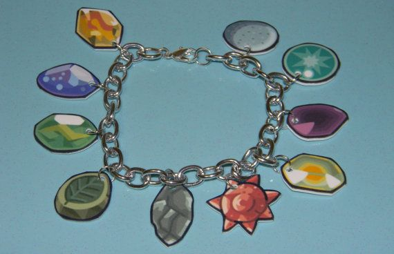 New Pokemon Evolution Stones Charm Bracelet by thekidicarus on Etsy, $17.50