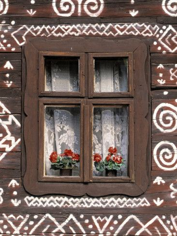 Window of Wooden Built Cottage, Cichany, Central Slovakia Photographic Print by Walter Bibikow at AllPosters.com