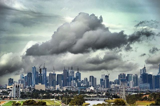 There was a bit of rain today. Clouds gather over Melbourne as seen from Maribyrnong. Picture: David Smith. #Heraldsun @davidsmith_88 #melbourne #weather #storm #skyporn #rainclouds