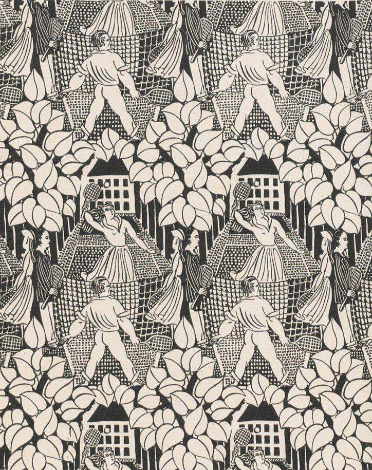 Le Tennis, toile de Tournon dessinée par Raoul Dufy