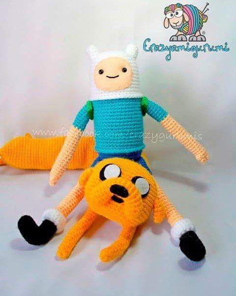 crazyamigurumi:: Jake y fin el humano #Jakeyfin #jake #finn #amigurumi #crochet #handmade #cartoonnetwork #horadeaventuras #adventuretime