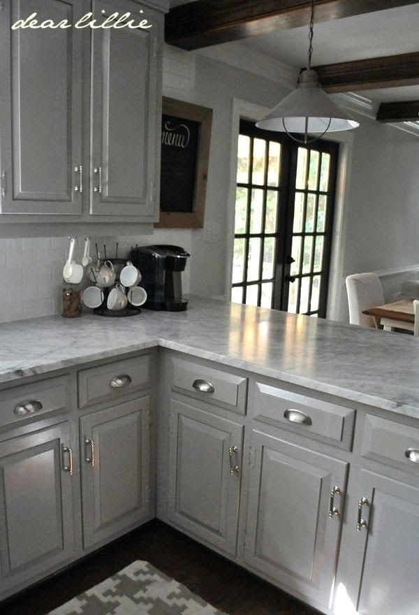 Light Gray Kitchen Cabinets With White
