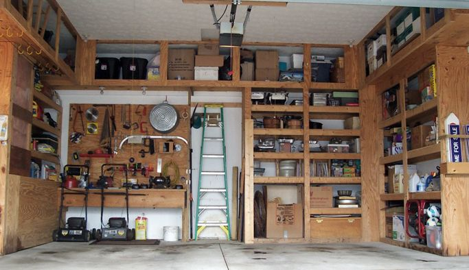 garage shelves 2x4 plywood 2