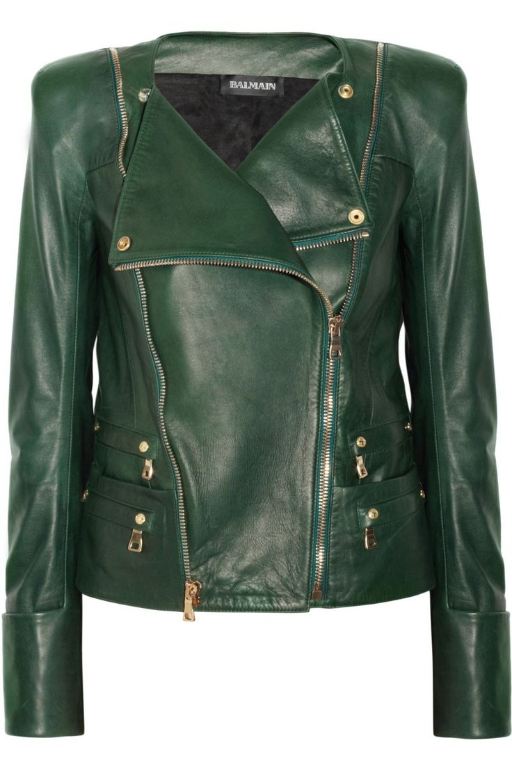 Leather jacket by Balmain..super cool.                                                                                                                                                     More
