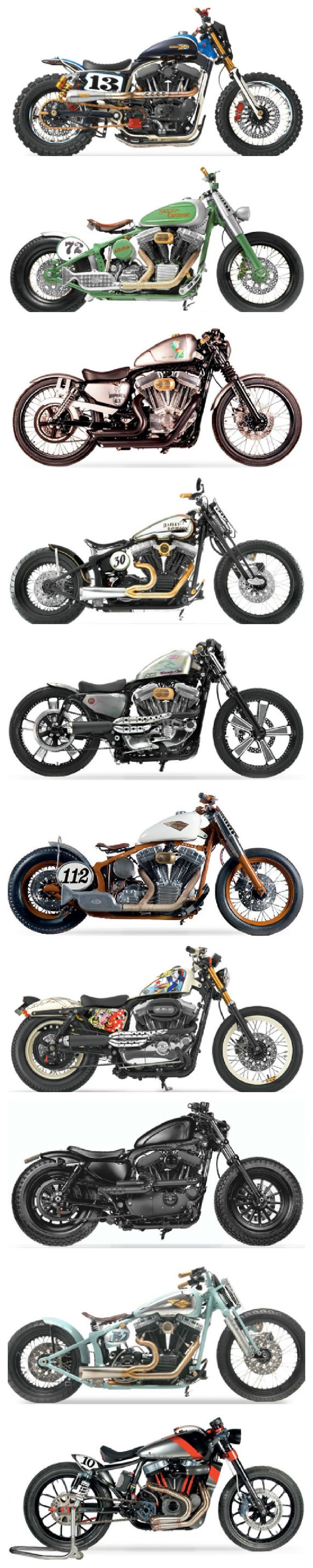 Custom Harleys From Europe - very fine collection of some Café Racers and Trackers.