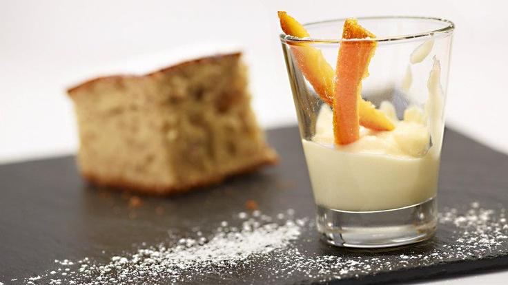 Gabriella Lomazzi   Cioccolato e Zenzero   Torta di nocciole con crema pasticcera all'arancia
