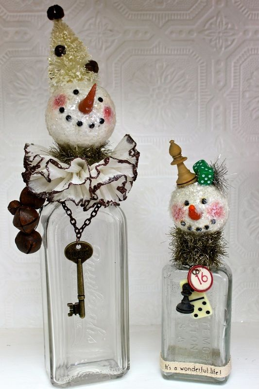 Paperclay snowman bottle