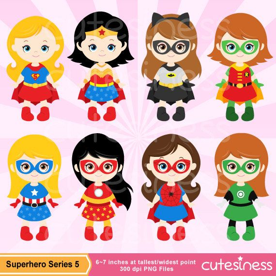 Superhero Digital Clipart Superhero Clipart by Cutesiness on Etsy