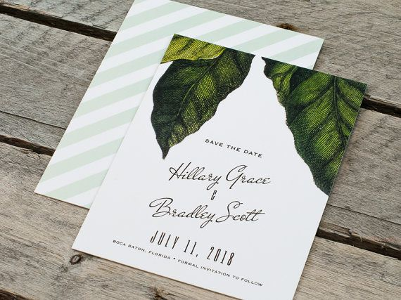 ► WEDDING SAVE THE DATE CARD DESCRIPTION    A Beverly Hills Hotel inspired design complete with retro typography, an illustrated botanical pattern,
