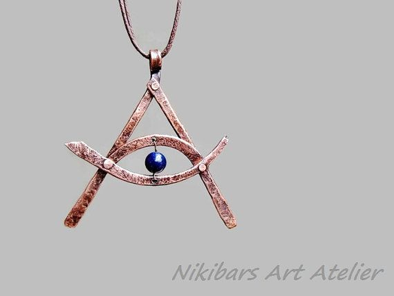 Masonic Necklace Forget Copper Ocult by NikibarsNatureArt on Etsy