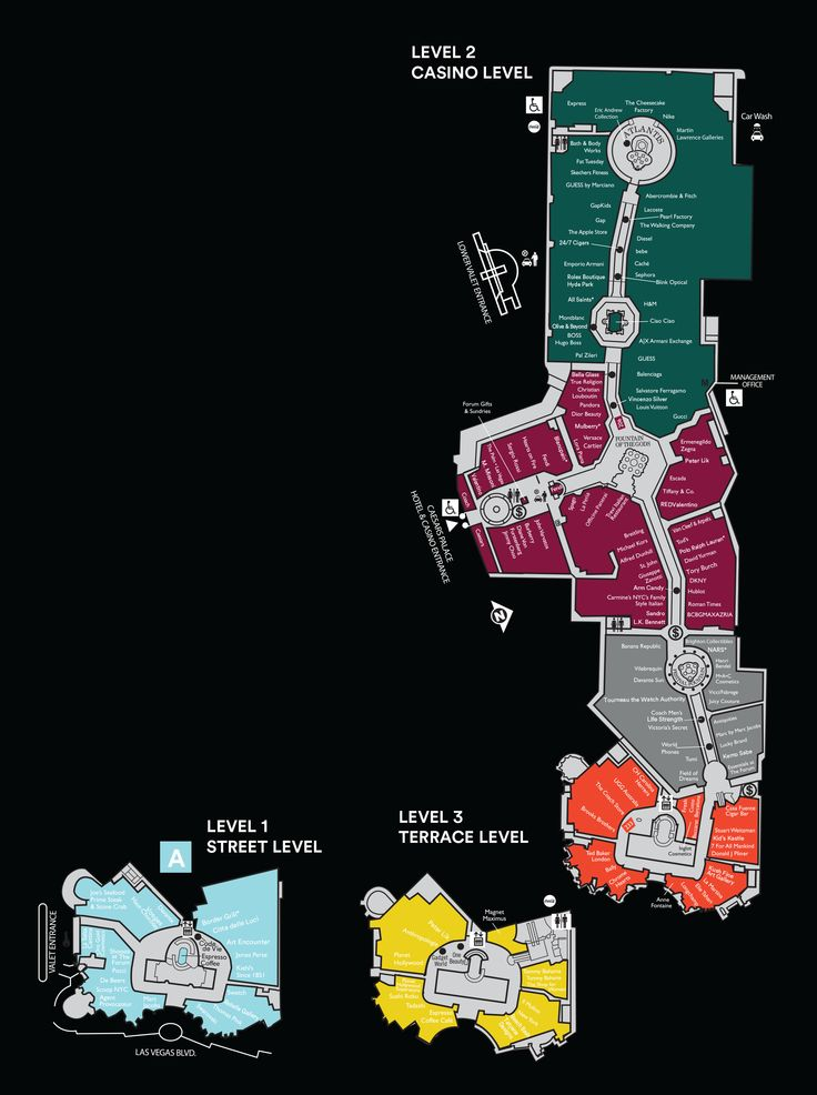 Mall Map For The Forum Shops at Caesars level 2