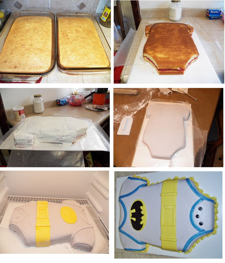 step by step batman baby shower cake