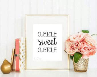 Cubicle Sweet Cubicle Print Office Decor by CraftandCandor