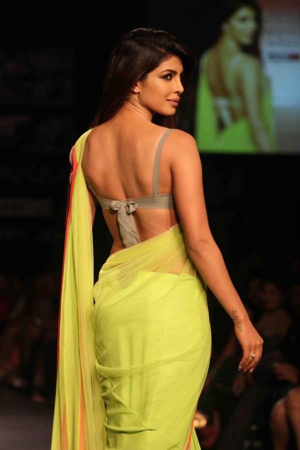 Actress Stills: Modern Sarees | Priyanka Chopra In Transparent Green Saree
