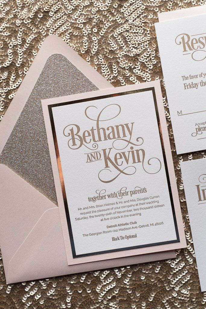 Bethany Suite Fancy Glitter Package Blush And Gold Wedding Invitations