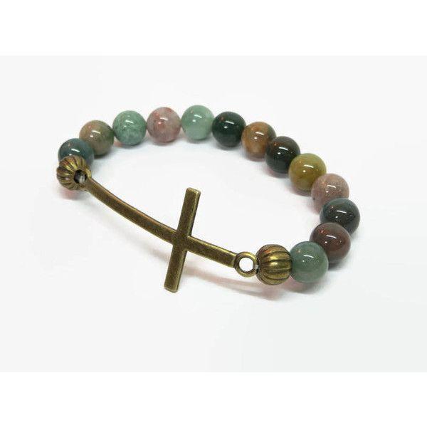Earth Tone Sideways Cross Bracelet, Boho Cross Bracelet, Green Cross... ($17) ❤ liked on Polyvore featuring jewelry, bracelets, boho jewellery, green jewelry, boho bangles, cross bangle and boho style jewelry