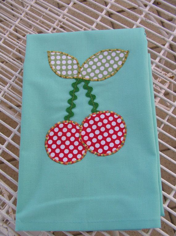 Tea Towel Aqua with Cherries 379 by diannek on Etsy, $12.00