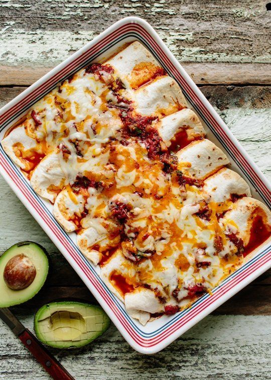 Baked Black Bean and Avocado Burritos by thekitchn #Burritos #Black_Bean #Avocado