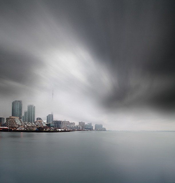 Toronto. Beautiful gray day. Reminds me of the early autumn mornings on my way to Bay Street on the Queen streetcar.