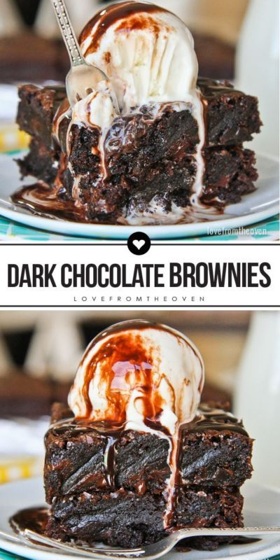 Easy Dark Chocolate Brownies. These are so rich, chewy and delicious, everything I love in a brownie!