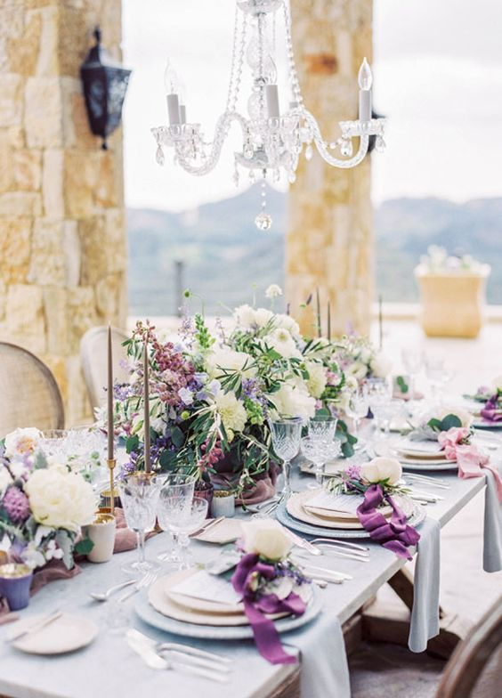 Featured Photographer: Sally Pinera; Breathtaking purple-inspired outdoor wedding reception