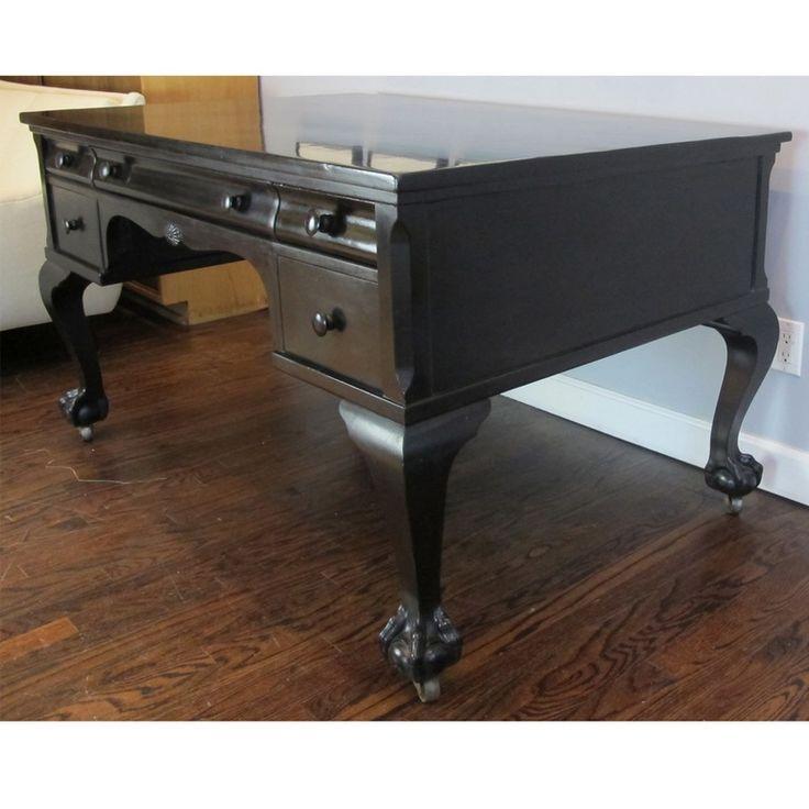 Hand-Lacquered Black Partner's Desk - Victorian Desks & Writing Tables - Dering Hall