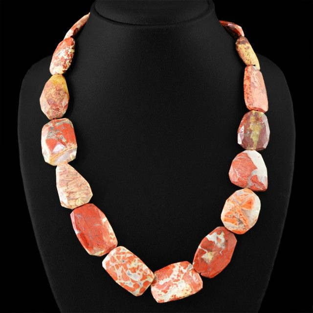 Genuine 665.00 Cts Untreated Mookaite Faceted Beads Necklace FASHIONABLE BEAD NECKLACE