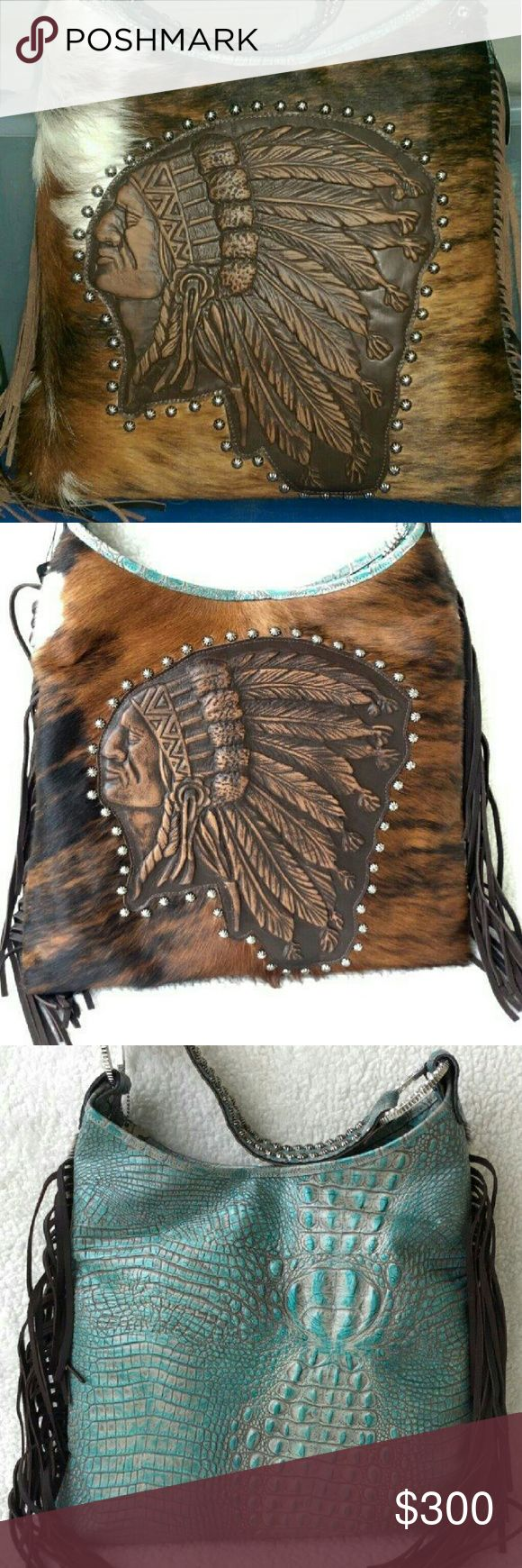 RAVIANI LEATHER PURSE Made in Texas premium quality leather and cowhide,indian logo leather fringe,1 open pocket 1 zipper pocket on the inside. brindle hide and turquoise this is a large bag length 17.5 strap drop 10 height 17 also have a wallet not listed dust cover and tags 400.00 new raviani Bags Shoulder Bags