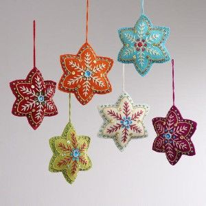 Embroidered Felt 6-Pointed Star Ornaments, Set of...