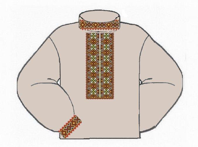 Льняная серая детская вышиванка ВМаЛ-003С