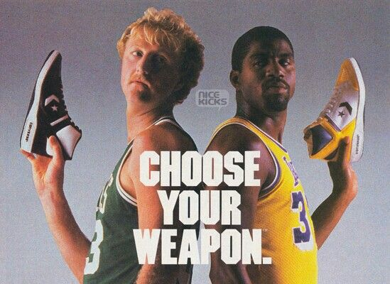 Larry Bird and Magic Johnson. Elige tus armas. Esto es baloncesto y lo  demas son tonterias
