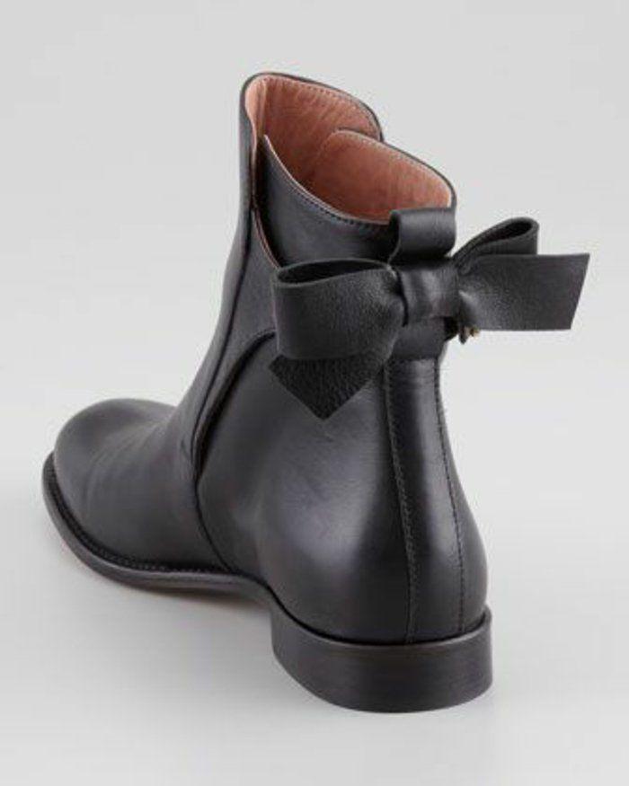 bottes en cuir noir pour les filles modernes, les bottes minelli