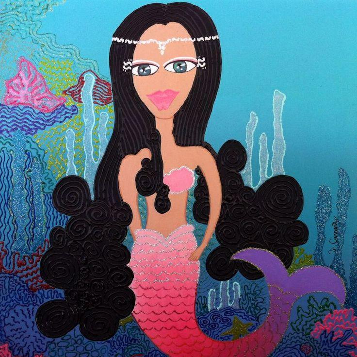 Sirena . acrílico sobre madera de 40 x 40 . Disponible