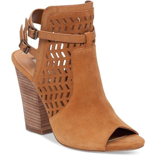 BCBGeneration Creen Block High-Heel Shooties (1.620 ARS) ❤ liked on Polyvore featuring shoes, boots, ankle booties, camel, block heel booties, short boots, block heel boots, cowgirl boots and ankle cowboy boots