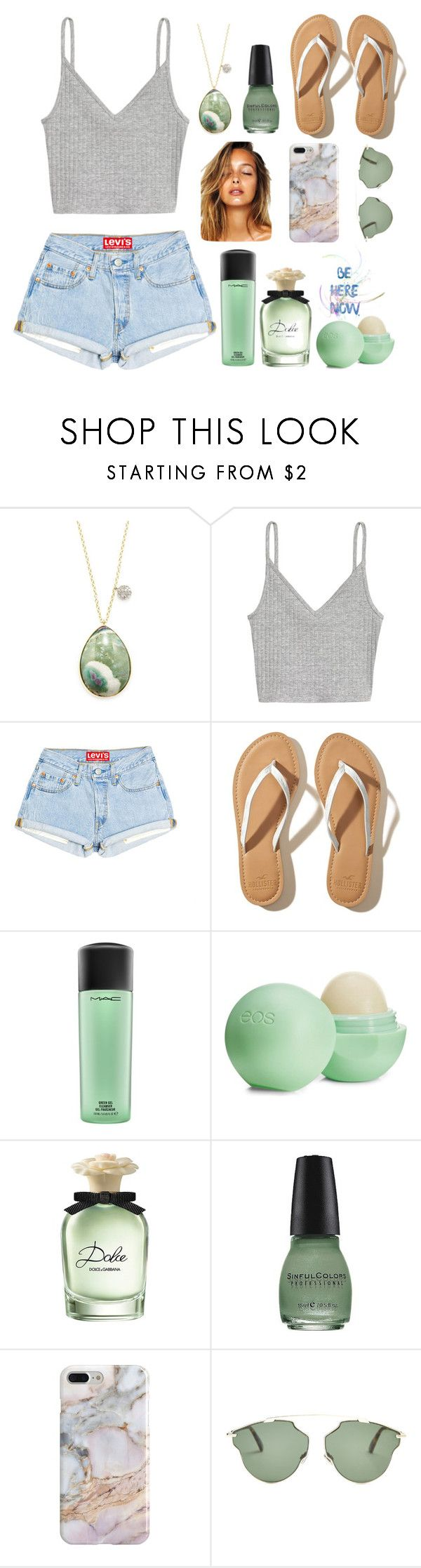 """""""My style"""" by keren300 ❤ liked on Polyvore featuring Meira T, Hollister Co., MAC Cosmetics, Eos, Dolce&Gabbana, SinfulColors, Recover and Christian Dior"""