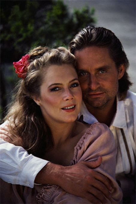 "Kathleen Turner and Michael Douglas from ""Romancing the Stone"""