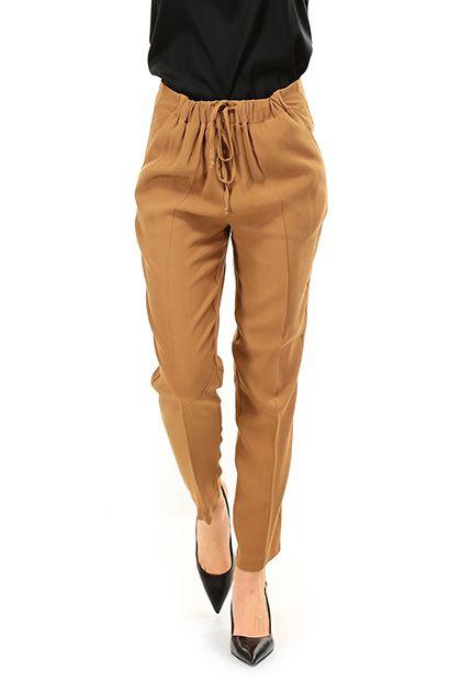 TWIN-SET SIMONA BARBIERI - Pantaloni - Abbigliamento - Pantaloni in viscosa con coulisse in vita regolabile. Tasche laterali ed a filetto sul retro. - TOBACO - € 110.66