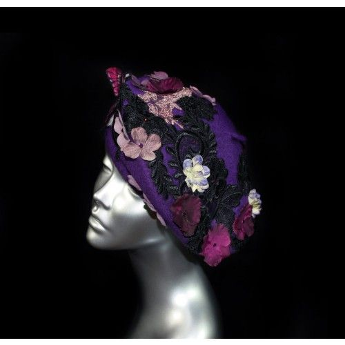 Butterfly Violet Beret #accessories #fashion #headpiece #hat #headdress #hairstyle  #bridal #crystal #glamour #chic #millinery #romantic #fantasy #derbyhats #hats  #swarovski #collection #fairy #weddings #look #violet