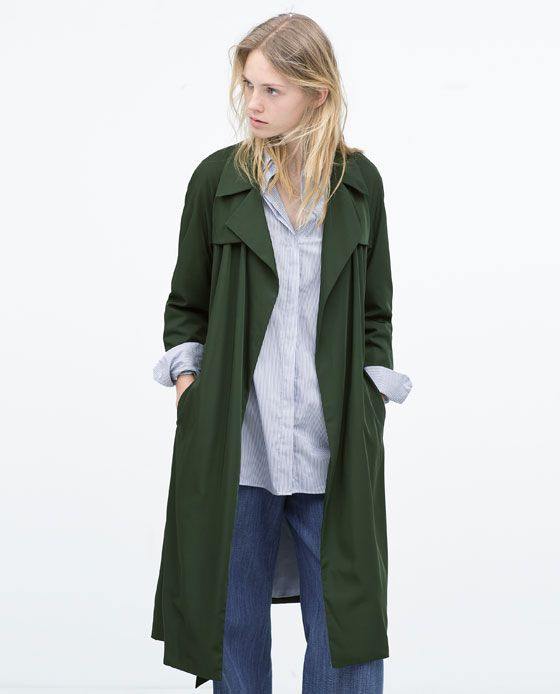 ZARA - WOMAN - DRAPED TRENCH - I love these green hued trenches
