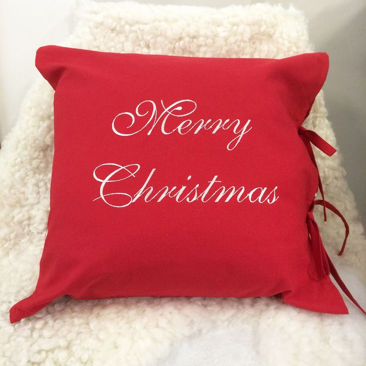 Merry Christmas pillow cover - red cotton embroidered pillow cover - Merry Christmas embroidered pillow cover - decoration pillow cover by leonorafi on Etsy