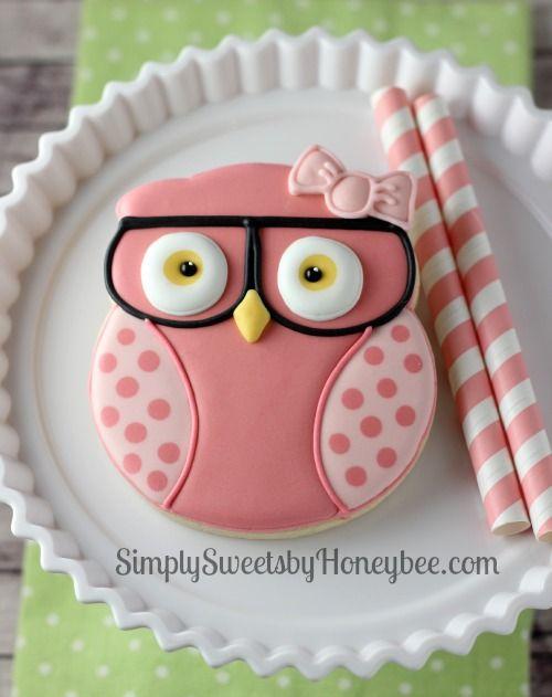 Geeky Baby Shower Owl Cookie for Jennifer from NoYoMoCo - simplysweetsbyhoneybee.com