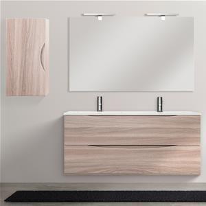 Mobile da bagno 120 cm lavabo doppio finitura rovere chiaro con pensile e specchiera