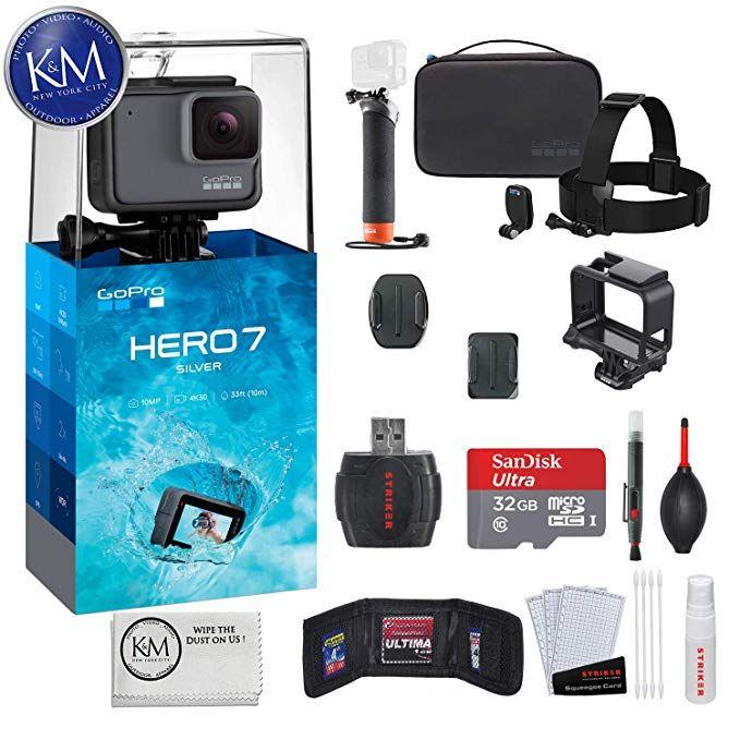 Gopro Hero 7 Silver Action Camera With Gopro Adventure Kit Essential Bundle Action Camera Gopro Hero Gopro