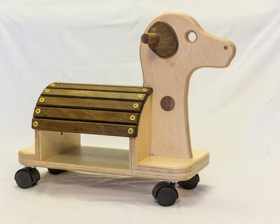 Child's wooden ride-on toy dog by JohnFoxDesigns on Etsy